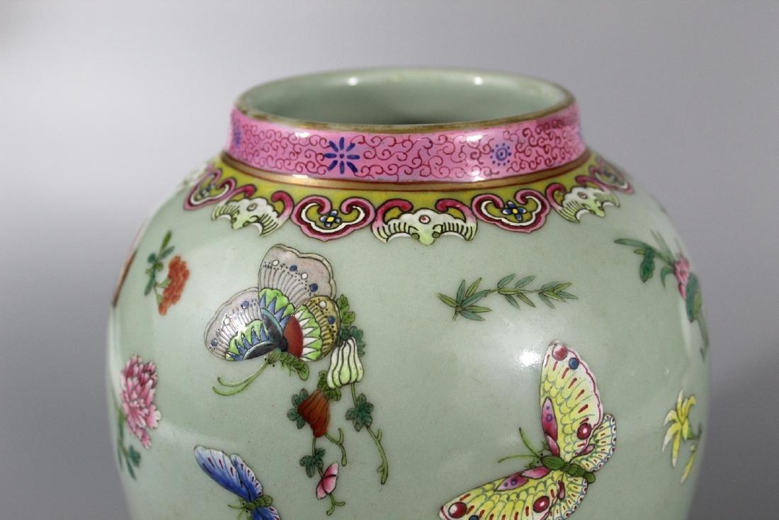 Chinese celadon glaze famille rose porcelain jar, - 2