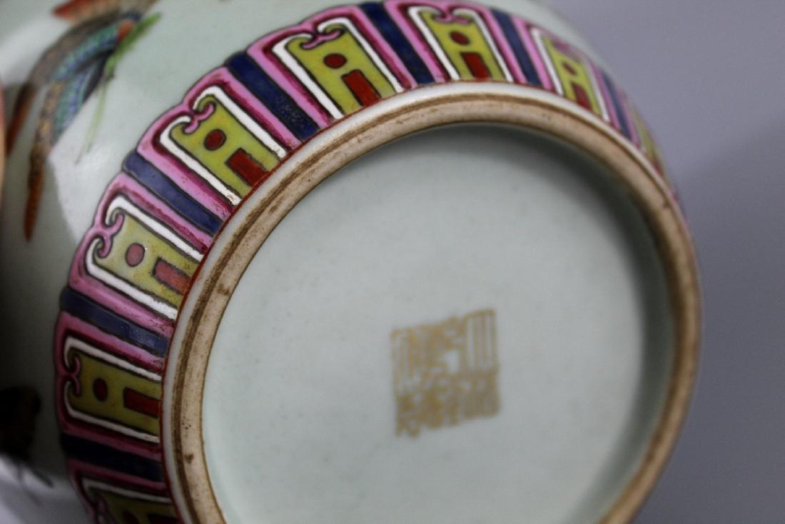 Chinese celadon glaze famille rose porcelain jar, - 3