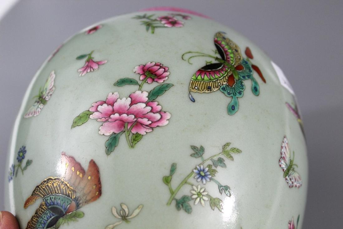 Chinese celadon glaze famille rose porcelain jar, - 4