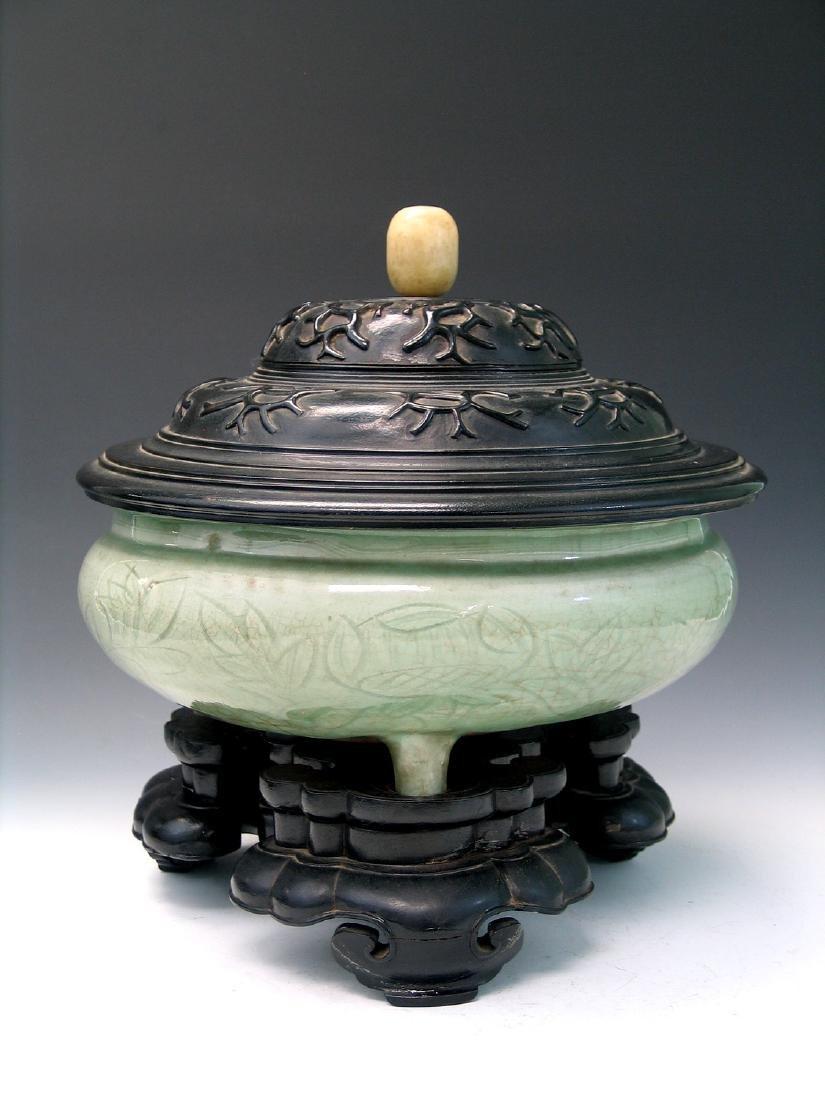 Chinese Celadon Porcelain Incense Burner with Wood
