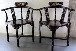 Pair Chinese rosewood arm chairs with mother of pearl