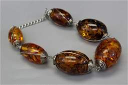 Large amber bead necklace.