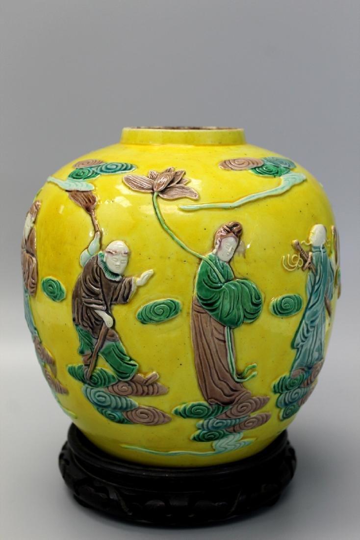 Chinese Sancai on yellow glaze jar.
