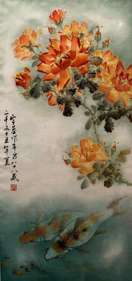 Chinese water color painting on paper, by Hu Yuji.