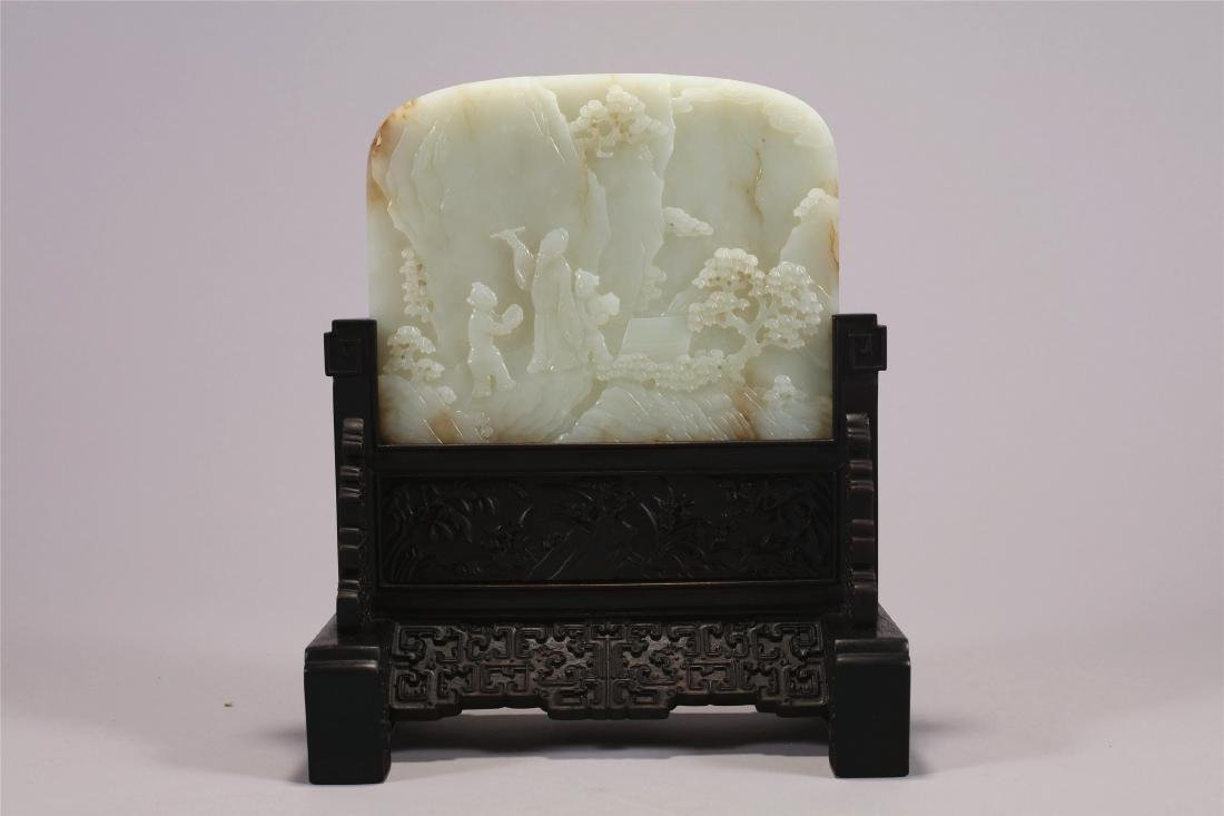 Chinese carved white jade table screen.