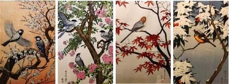 Four Seasons, set of Japanese wood block, by Toshi