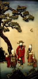 """Chinese carved wood panel of three immortals """"Fu Lu"""