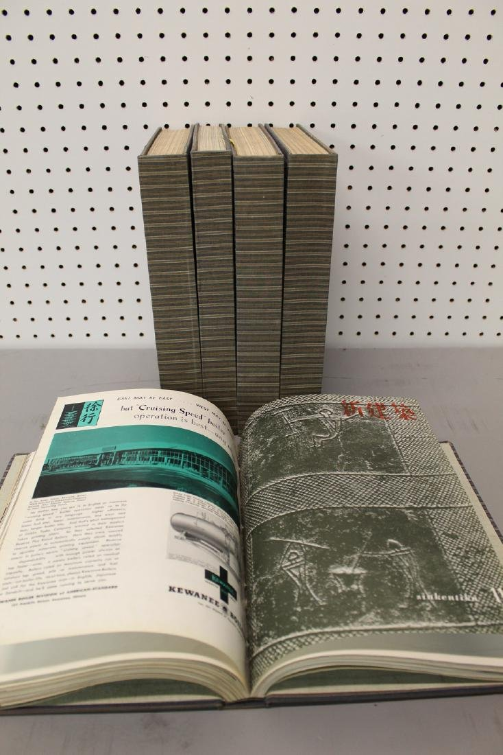 Five Volumes of Architectural Magazine in Japan 1950's.