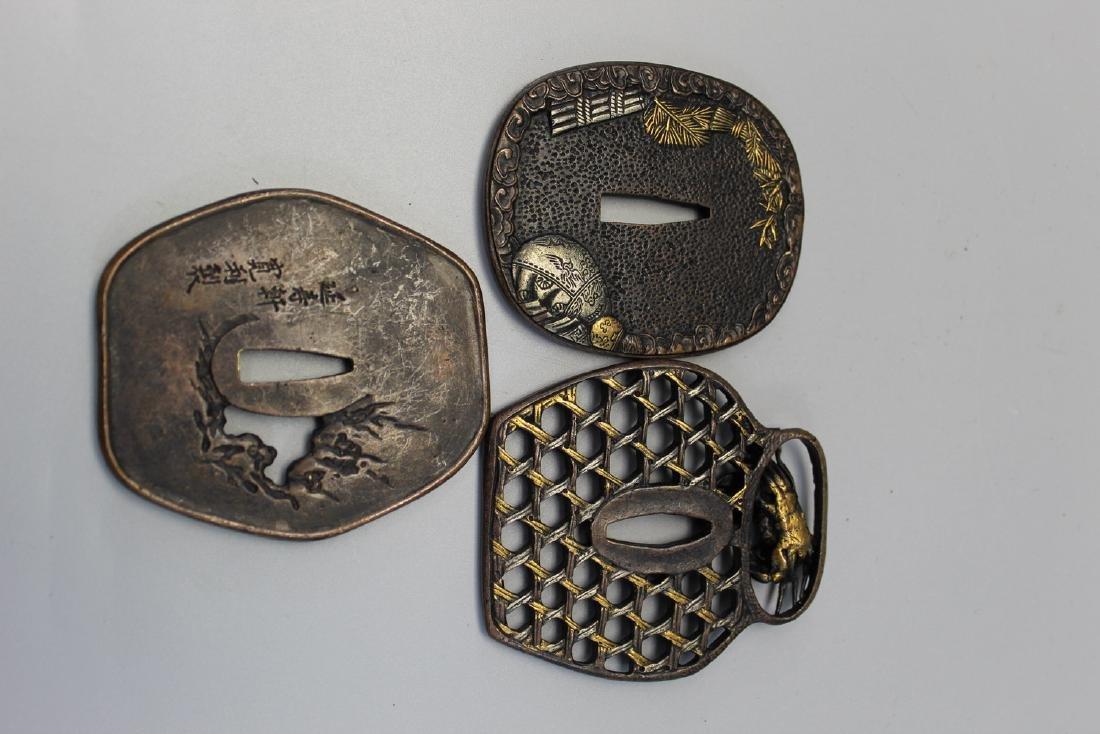 Three Japanese tsuba. - 2