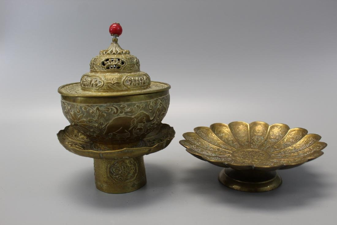 Tibetan metal lidded cup and dish.