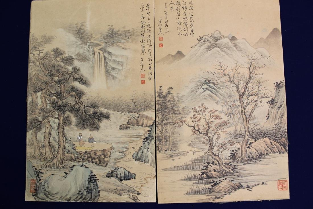 Two Chinese water color painting on paper, by Ban Shui