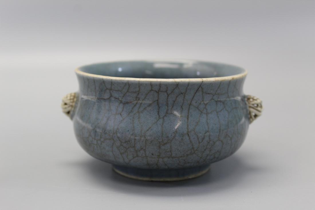 Chinese crackle glazed porcelain incense burner, Qing