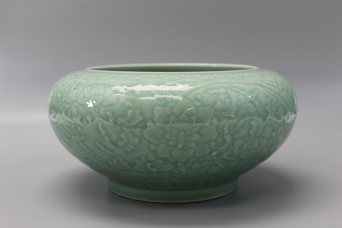 Chinese celadon porcelain brush washer, Qianlong mark.