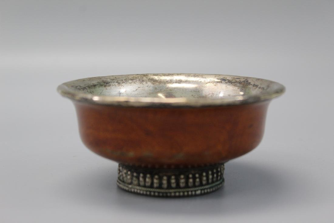 Tibetan wood and silver bowl.