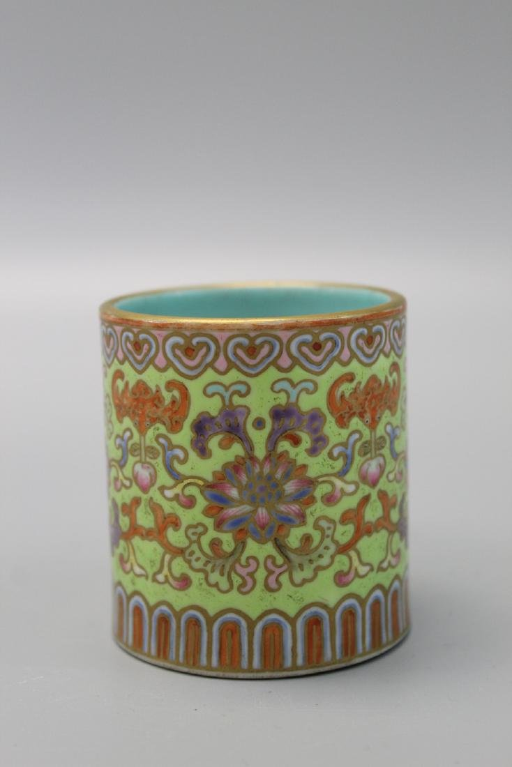 Chinese famille rose porcelain brush pot, Qianlong
