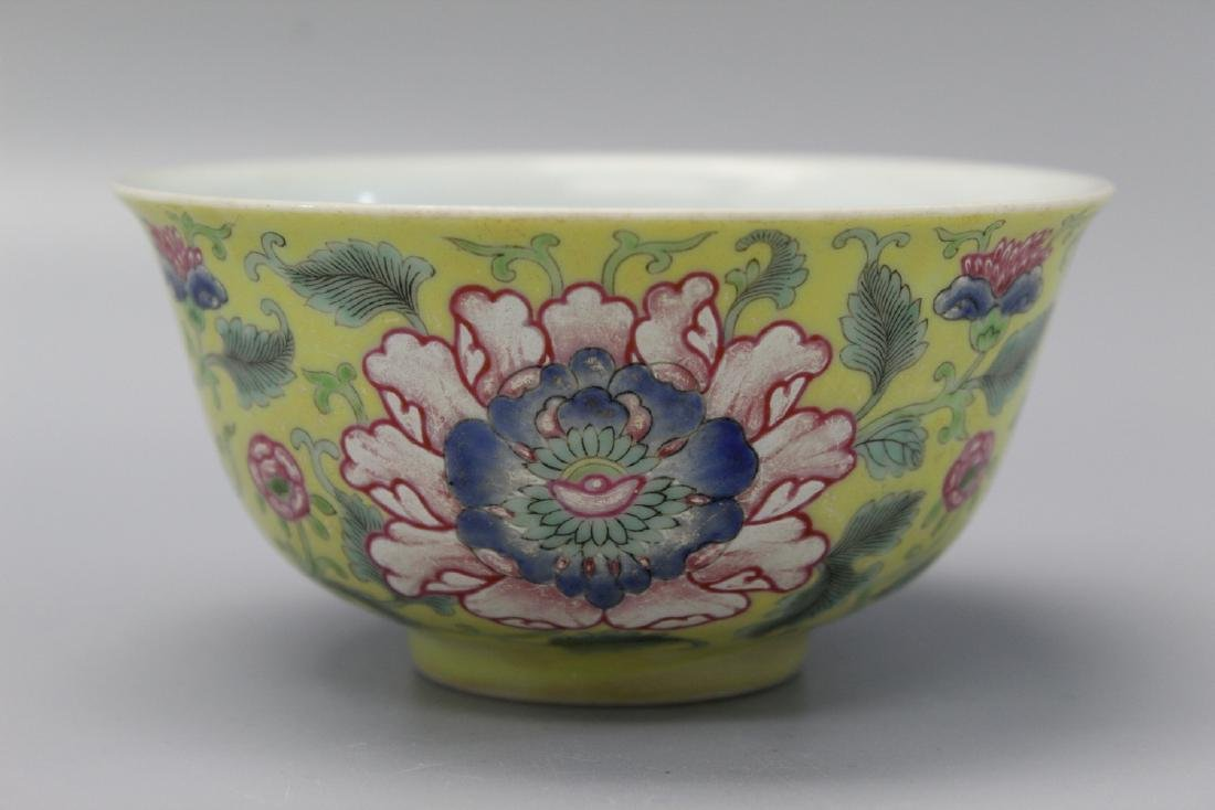 Chinese yellow glaze famille rose porcelain bowl,
