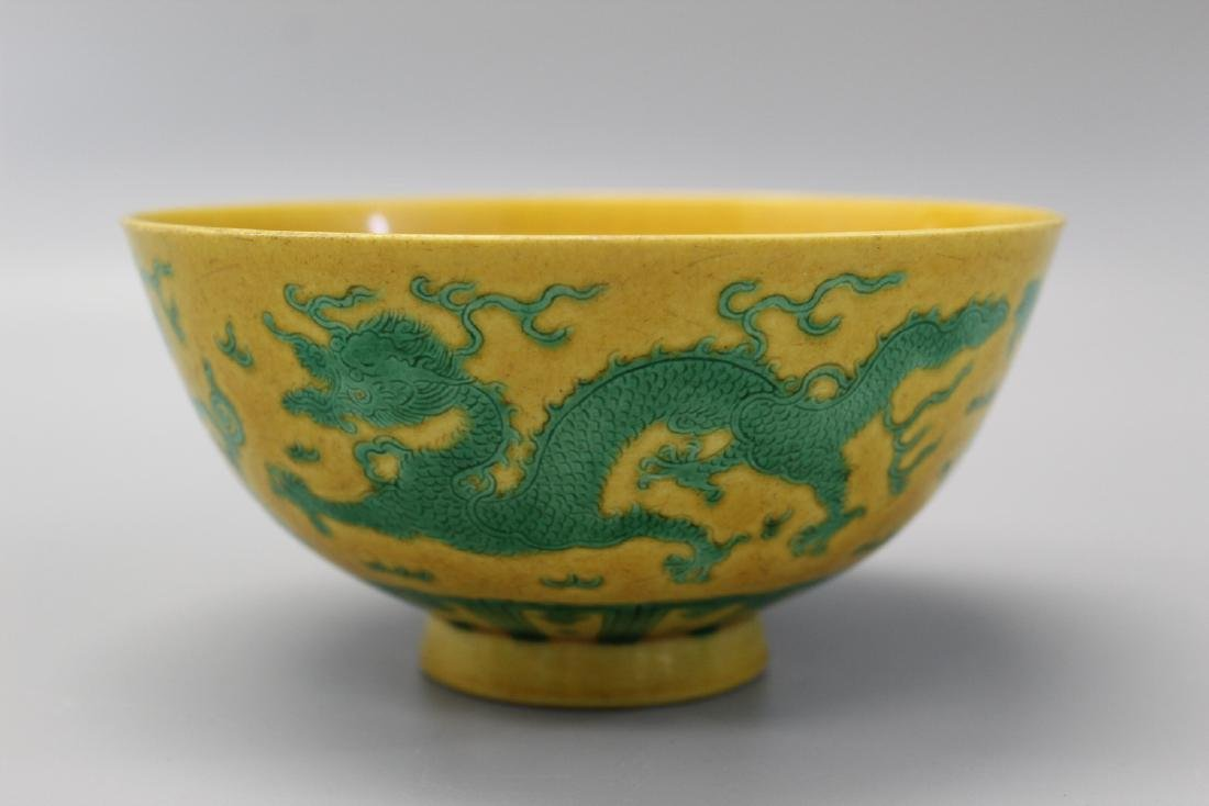 Chinese yellow glaze porcelain bowl with dragon and