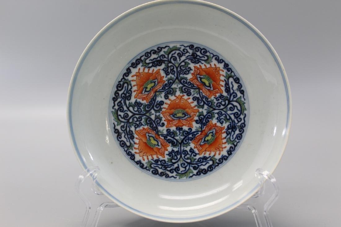 Chinese Doucai porcelain plate, Yongzheng mark.