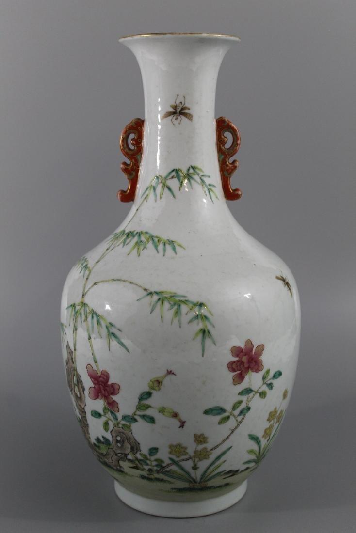 Chinese famille rose porcelain vase, marked.