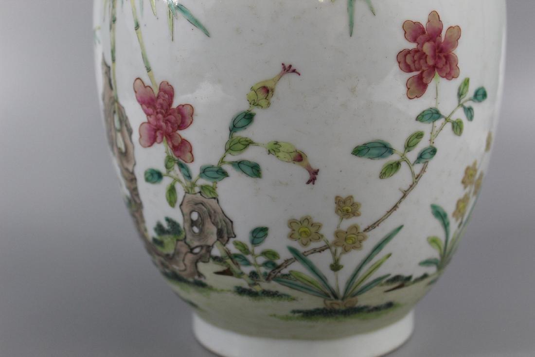 Chinese famille rose porcelain vase, marked. - 2