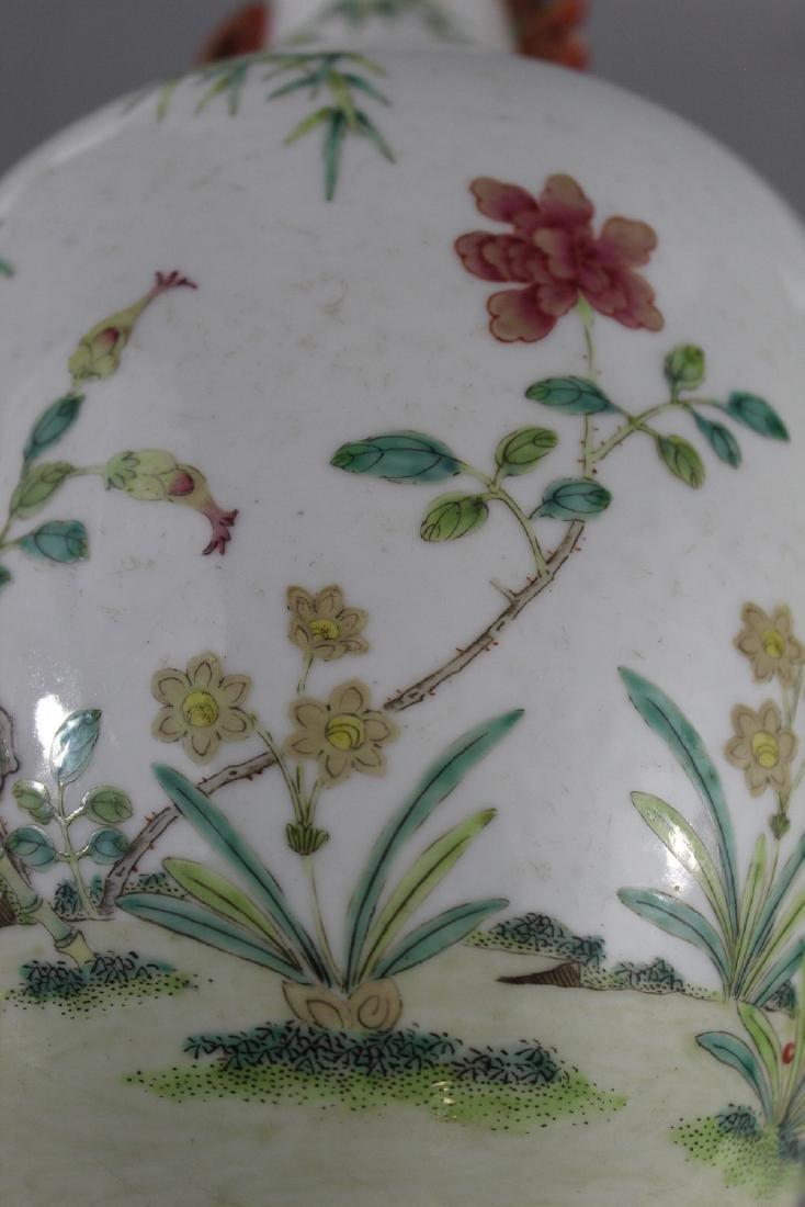 Chinese famille rose porcelain vase, marked. - 5