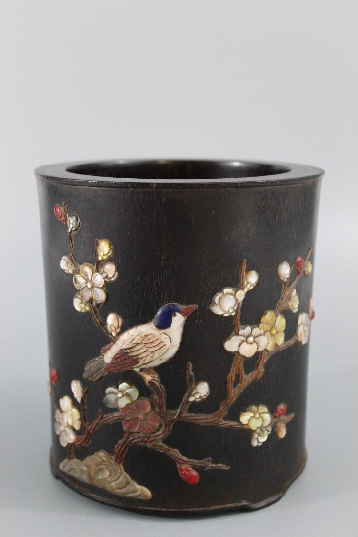 Chinese Zitan brush pot with mother of pearl and
