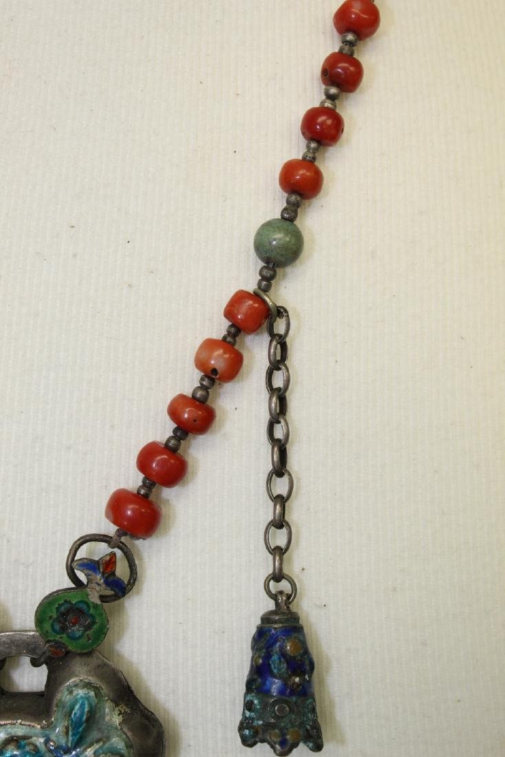 Chinese red coral necklace with silver pendant. - 3