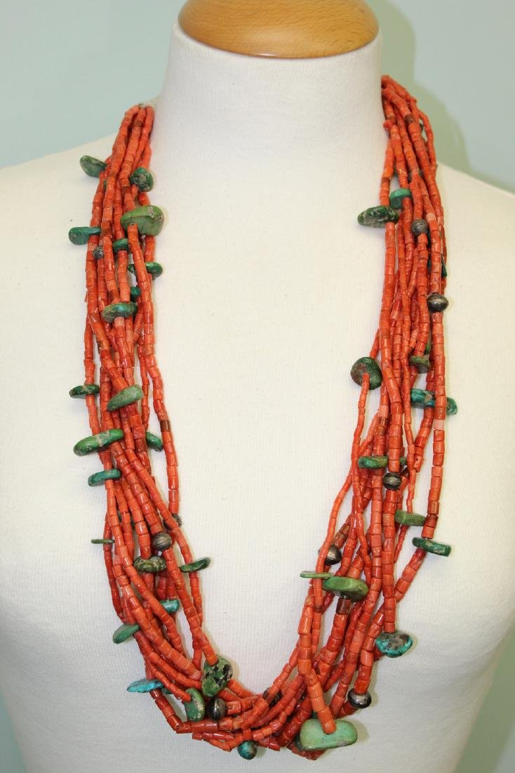 Turquoise and red coral  beads necklace.