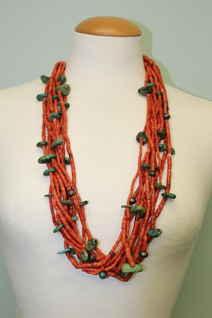 Turquoise and red coral  beads necklace. - 2