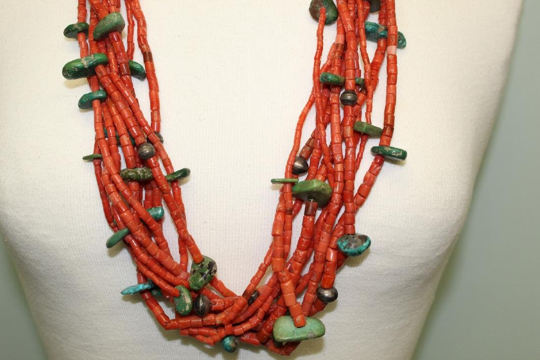 Turquoise and red coral  beads necklace. - 3
