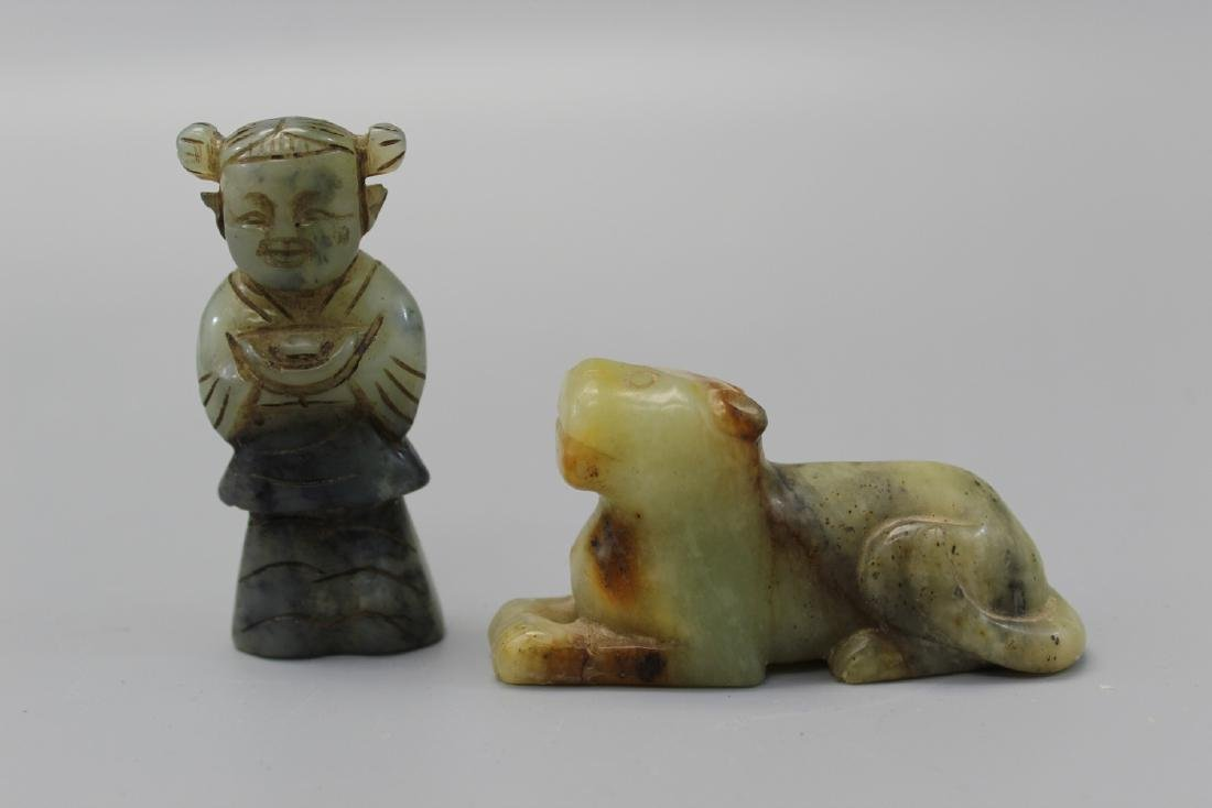 Chinese carved jade girl and dog.