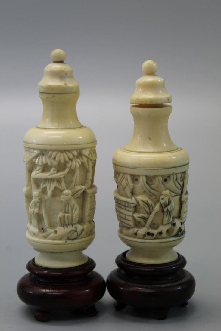 Two Japanese carved snuff bottles.