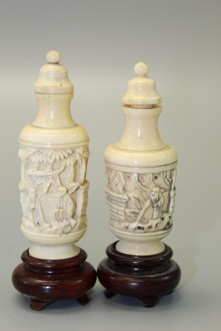 Two Japanese carved snuff bottles. - 2