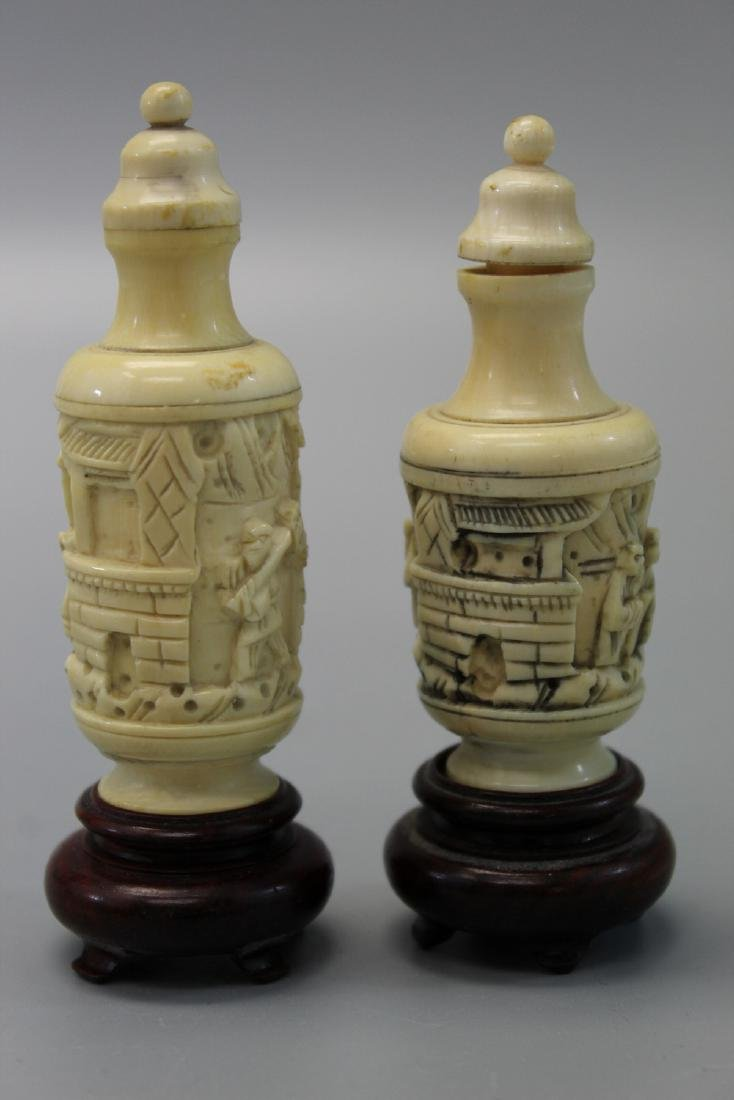 Two Japanese carved snuff bottles. - 3