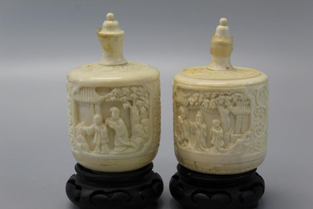 Two carved snuff bottles, Ming mark.