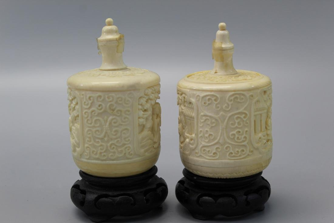 Two carved snuff bottles, Ming mark. - 2