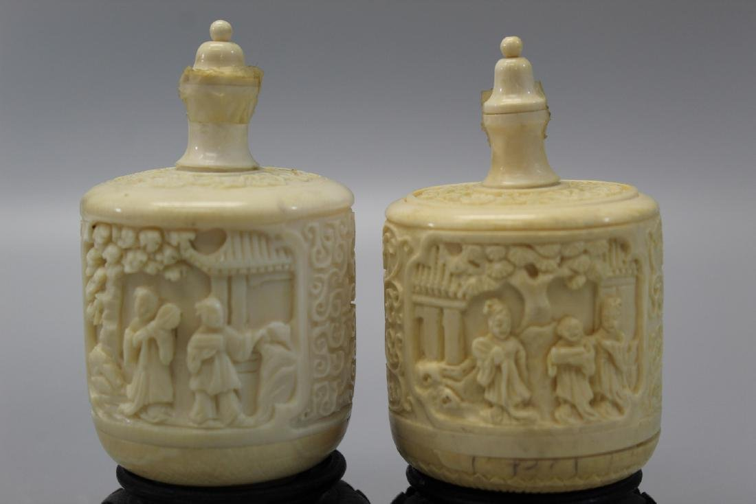 Two carved snuff bottles, Ming mark. - 3