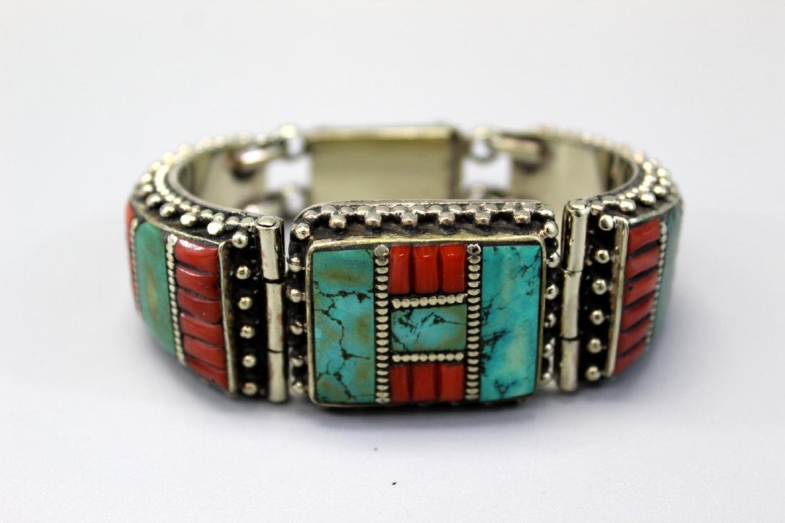 Tibetan Turquoise and Coral Bracelet.