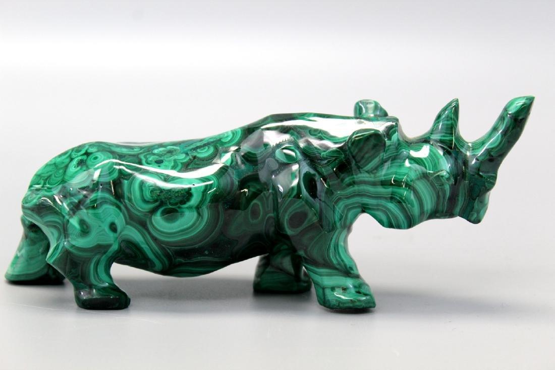 Fine Carved Malachite Semi-Precious Stone Rhinoceros.