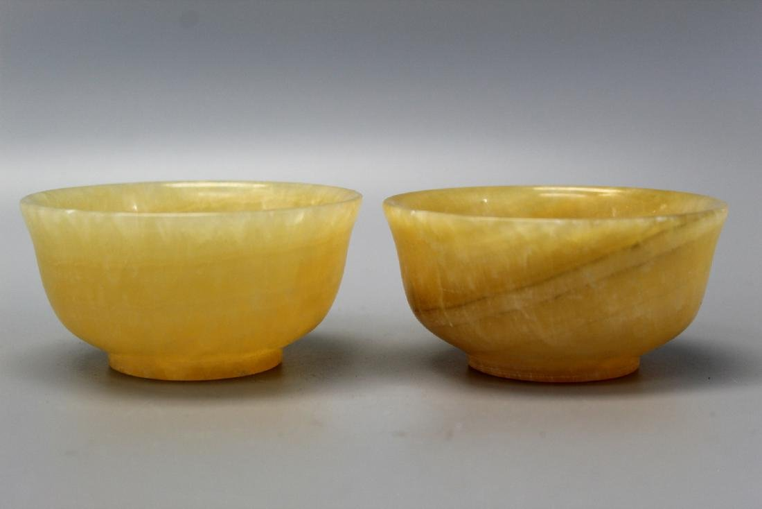 Pair Chinese Yellow Calcite Carved Bowls.