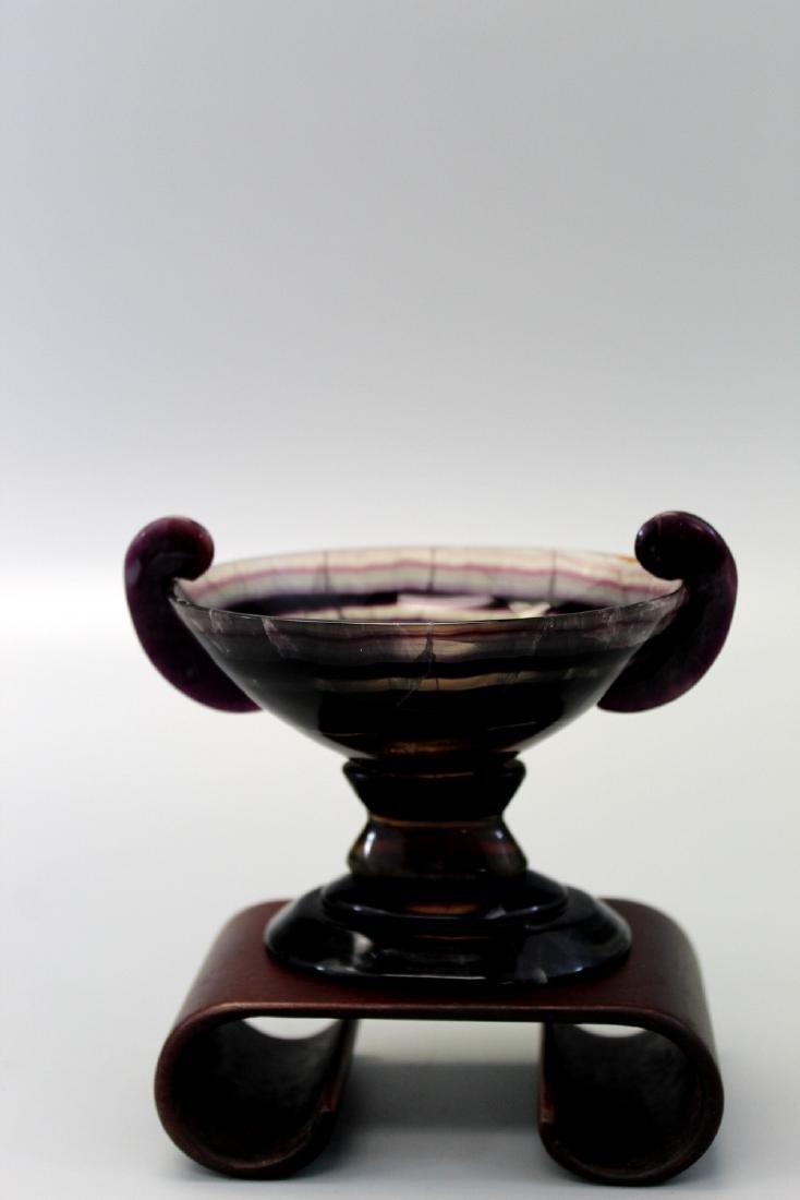 Carved Semi-Precious Purple Fluorite Diminutive Tazza.