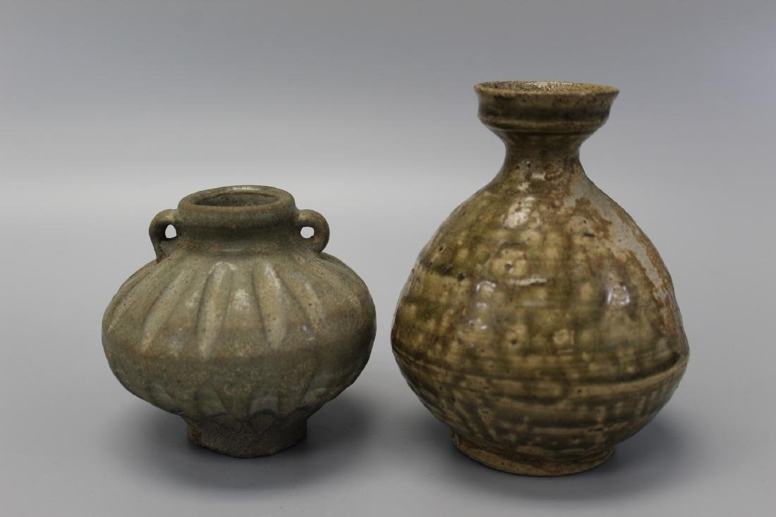 Antique Thai Sawankhalok pottery jar and vase.