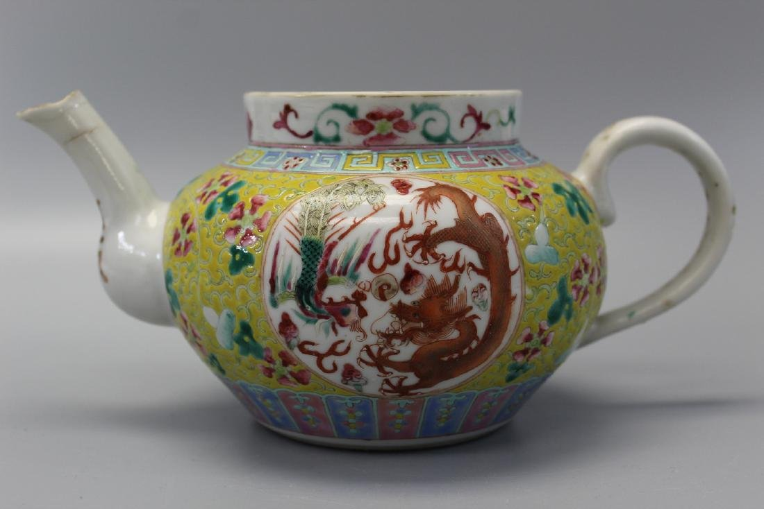 Chinese famille rose porcelain teapot, Guangxu mark and