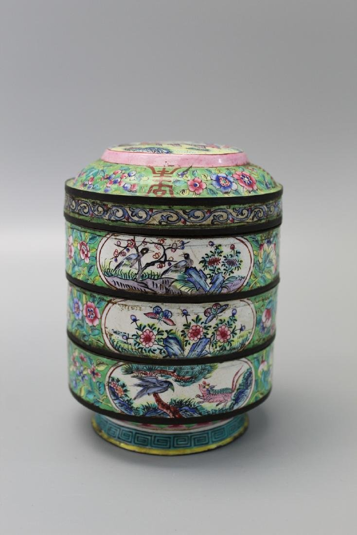 Chinese enameled metal stacking dishes, 19th Century.