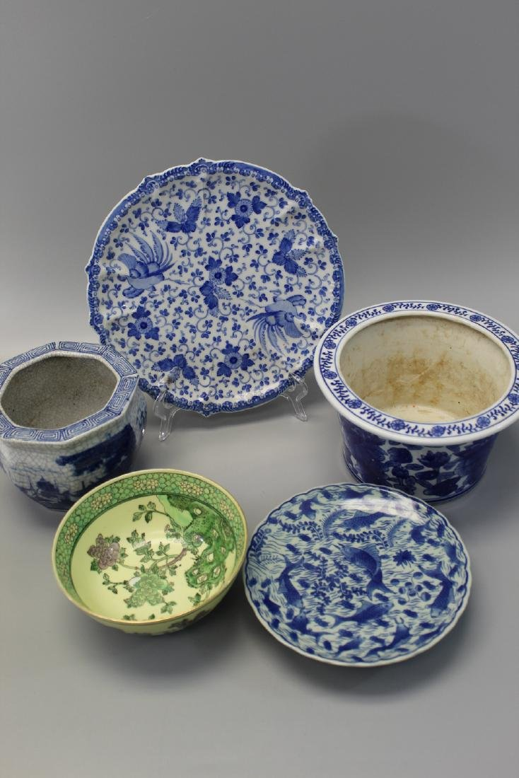 Five Chinese porcelain pieces.