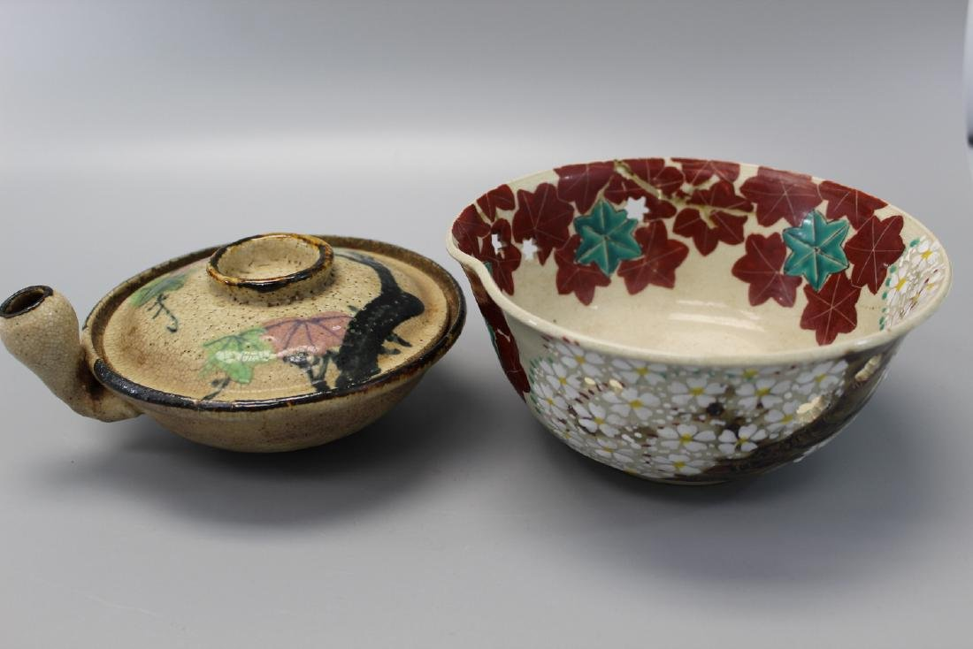 Two Japanese pottery bowls.