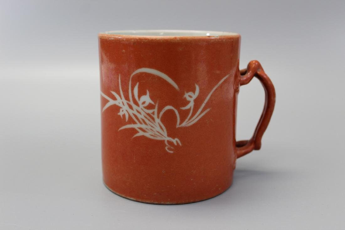 Chinese coral red glaze porcelain cup.