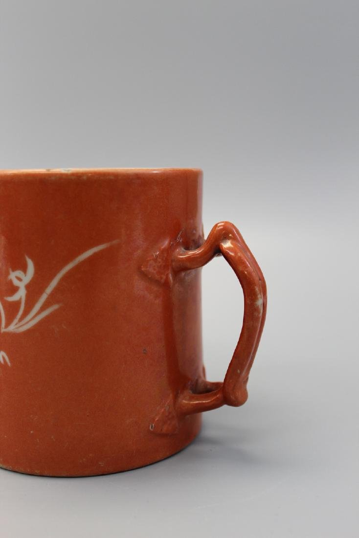 Chinese coral red glaze porcelain cup. - 3