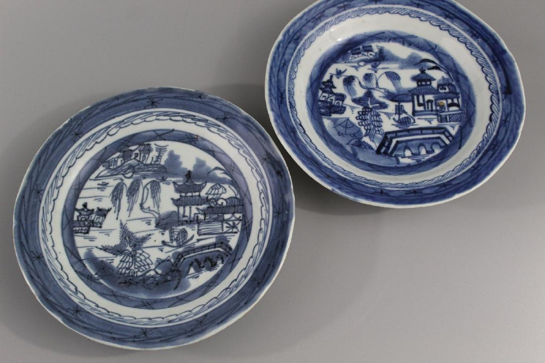 Two Chinese Canton blue and white porcelain dishes.