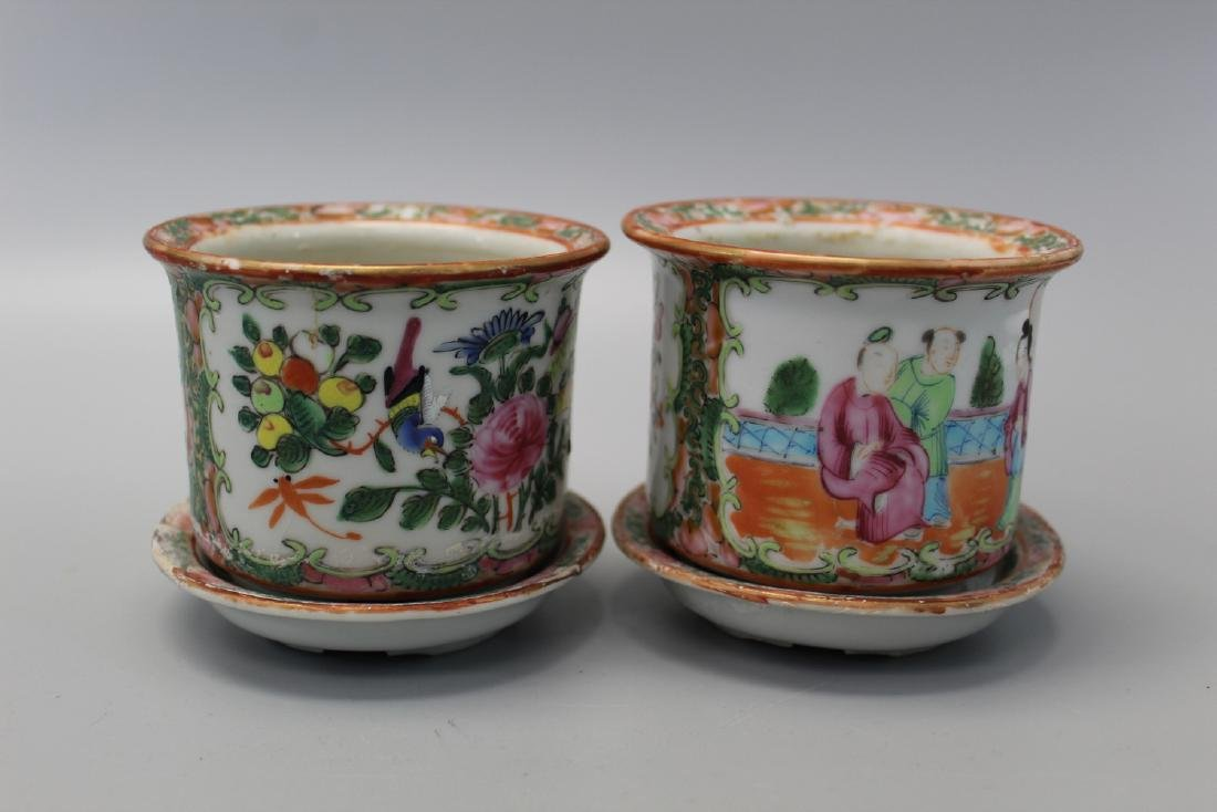 Pair of Chinese rose medallion porcelain planters.